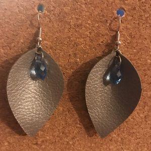 Handmade faux leather earrings